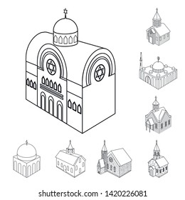 Vector design of architecture and building sign. Collection of architecture and clergy stock vector illustration.