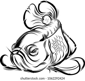 Vector design arowana fish in tattoo style.