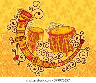 Vector design of art and music of India in Indian art style