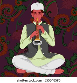 Vector design of artist playing Shehnai folk music of India on floral background