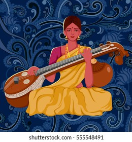 Vector design of artist playing Sitar folk music of India on floral background
