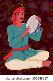 Vector design of artist playing Tamborin folk music of India on floral background