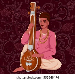 Vector design of artist playing Tanpura folk music of India on floral background