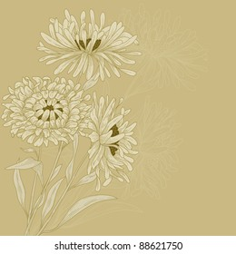 Vector design with asters for greeting card.
