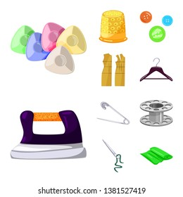 Vector design of atelier and sewing icon. Set of atelier and tailoring stock symbol for web.