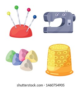 Vector design of atelier and sewing icon. Set of atelier and tailoring vector icon for stock.