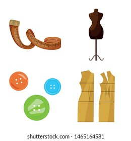 Vector design of atelier and sewing logo. Collection of atelier and tailoring vector icon for stock.
