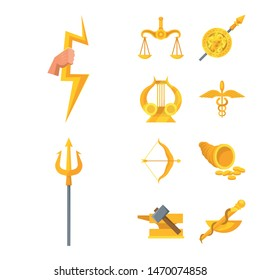 Vector design of attributes and greek icon. Set of attributes and god stock symbol for web.