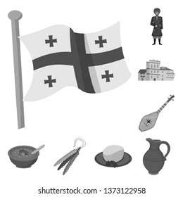 Vector design of attributes and tourism icon. Set of attributes and national stock vector illustration.