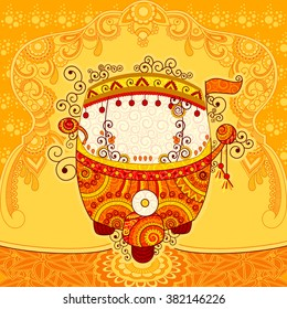 Vector design of auto rickshaw in Indian art style