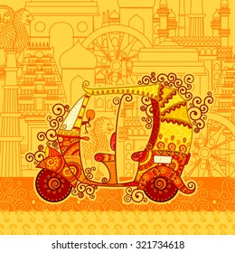 Vector design of auto rickshaw on famous monument backdrop in Indian art style