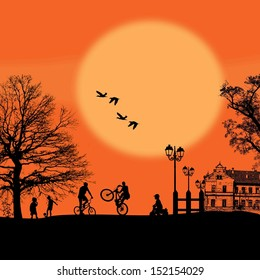 Vector design background with beautiful landscape and childrens silhouettes