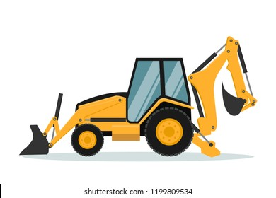 Vector design of backhoe. Heavy machinery.