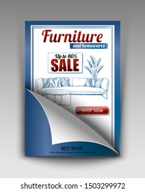 Vector design banner with hand drawn elements, background of furniture and interior store of apartments. Template for promotion, sale, ads, banners and flyers. Flyer with paper element.