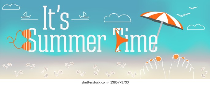 Vector design banner with text It's Summer time. Illustration of feet with nails, shells, swimsuit, parasol, sand, clouds, the beach elements on blue landscape background. The cover of the site.