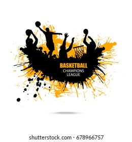 Vector design for basketball, hand drawing, grunge style, splashes. Abstract Ink background.
