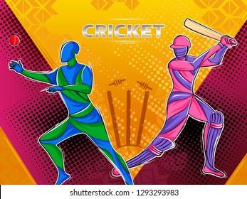 Vector design of batsman player playing cricket sports tournament championship