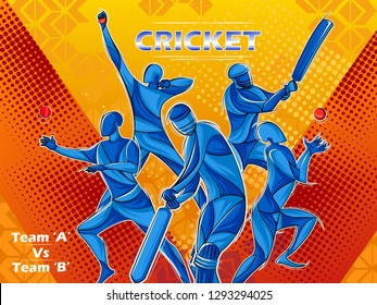 Vector design of batsman player playing cricket sports tournament championship