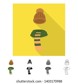 Vector design of beanie  and scarf icon. Collection of beanie  and cap  vector icon for stock.