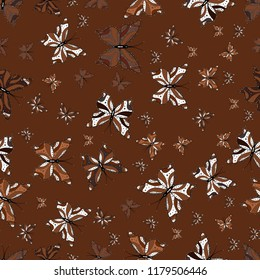 Vector design. Beautiful seamless butterfly iterative texture isolated on contrast back layer. Wildlife insect fauna backdrop for cover. Nature butterfly repeat theme in brown, white and black colors.