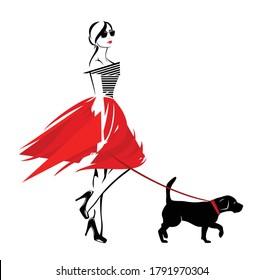 Vektordesign einer schönen stylischen Frau mit Modekleidung, die mit ihrem Hund auf der Leine spaziert