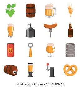 Vector design of beer and bar logos. Collection of beer and pub stock vector illustration.