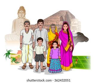 Vector design of Bihari family showing culture of Bihar, India