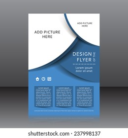 Vector design of the blue flyer whit place for pictures. Poster template for your business.