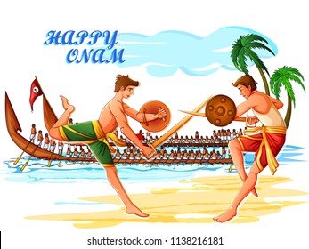 Vector design of Boat Race competition on occasion of Onam Kerala festival