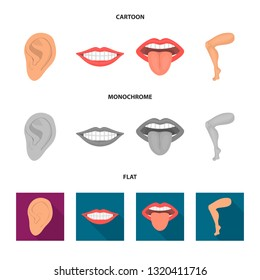 Vector design of body and part sign. Collection of body and anatomy stock symbol for web.