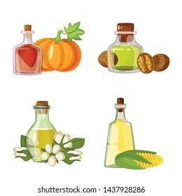 Vector design of bottle and glass logo. Set of bottle and agriculture vector icon for stock.