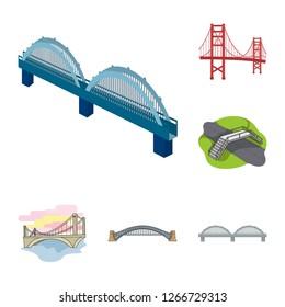 Vector design of bridge and construction icon. Collection of bridge and arch vector icon for stock.