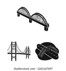 Vector design of bridge and construction logo. Collection of bridge and arch stock symbol for web.
