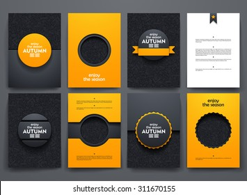 Vector design brochures with doodles backgrounds on autumn theme