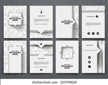 Vector design brochures with doodles backgrounds on restaurant theme