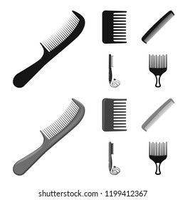 Vector design of brush and hair icon. Set of brush and hairbrush vector icon for stock.