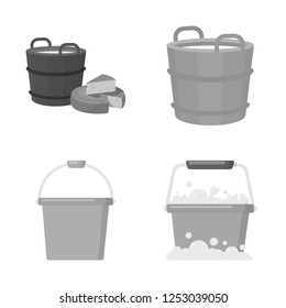 Vector design of bucket and water sign. Set of bucket and full stock vector illustration.