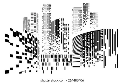 Vector Design Building and City Illustration at night, City scene on night time, Urban cityscape