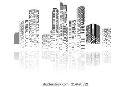 Vector Design Building and City Illustration at night, City scene on night time