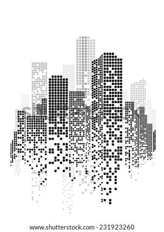 Vector Design Building City Illustration Night Stock ...