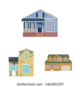 Vector design of building and front symbol. Collection of building and roof stock symbol for web.