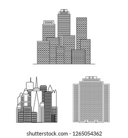 Vector design of building and high sign. Collection of building and business stock vector illustration.