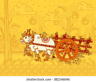 Vector design of bullock cart in Indian art style