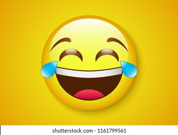 vector design of burst out laughing face expression