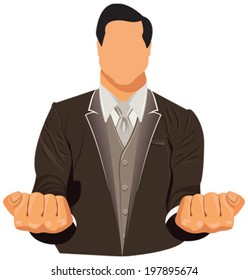 Vector design of businessman in suit with his closed hand over isolated on white background in EPS10.
