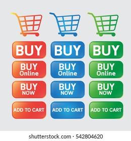 Vector design button buy online  web botton and icon cart