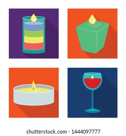Vector design of candlelight and decoration icon. Collection of candlelight and flame stock symbol for web.