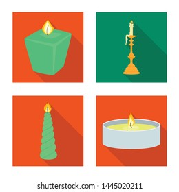 Vector design of candlelight and decoration logo. Collection of candlelight and flame vector icon for stock.