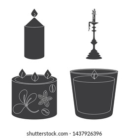 Vector design of candlelight and decoration sign. Set of candlelight and wax vector icon for stock.