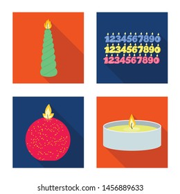 Vector design of candlelight and decoration sign. Set of candlelight and flame vector icon for stock.